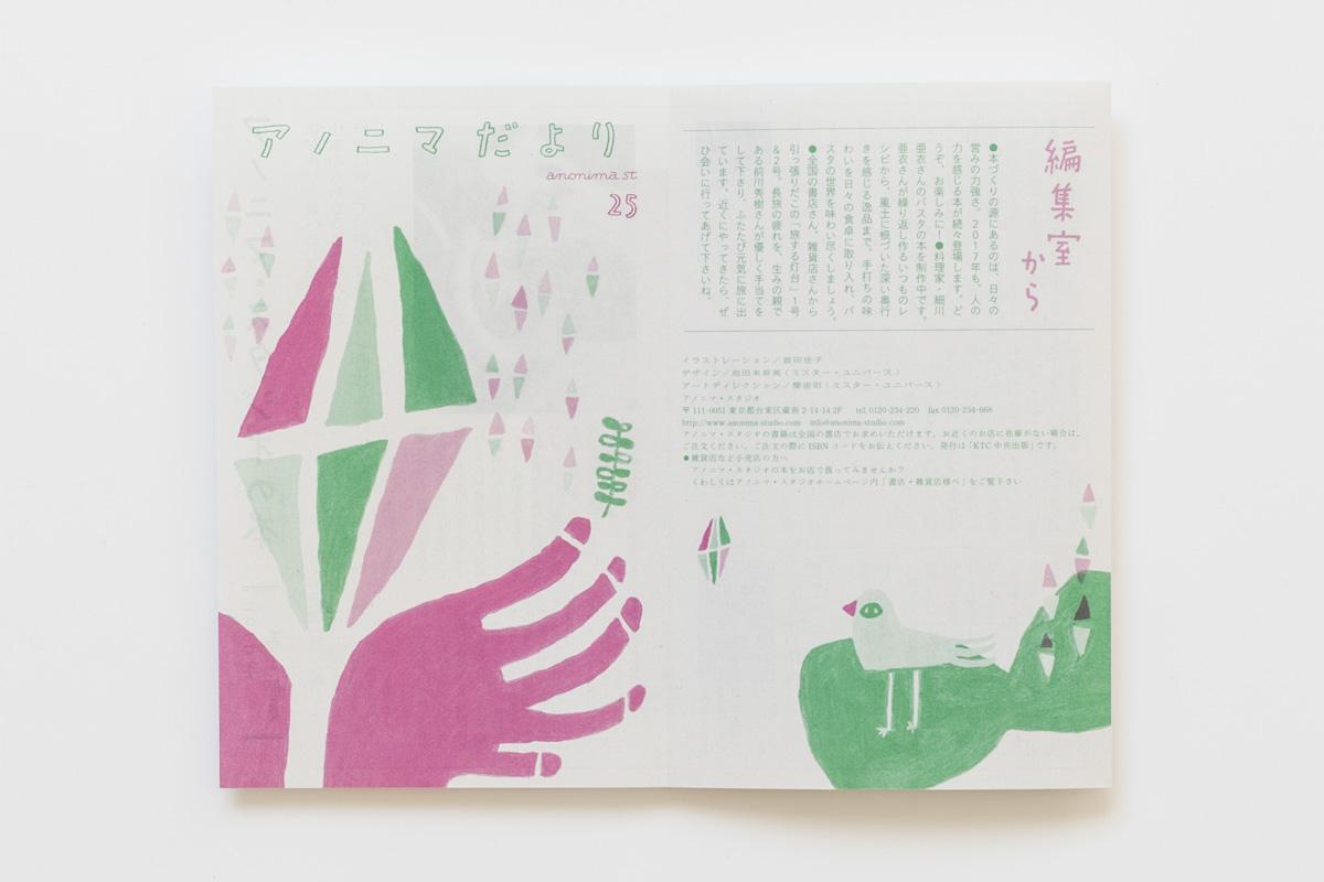 アノニマだより vol.25 表裏面 デザイン