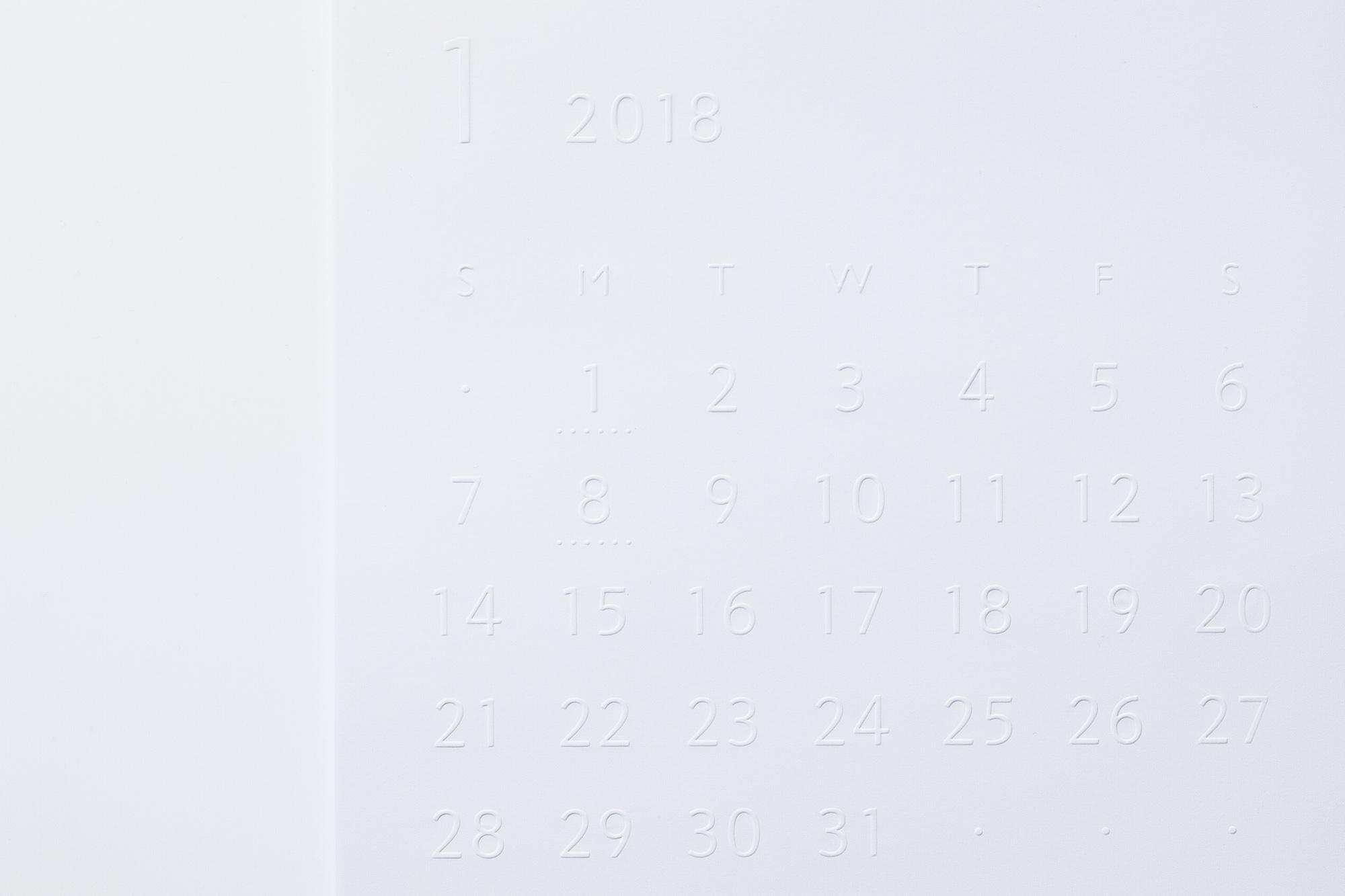 バリアフリーカレンダー 白地タイプ